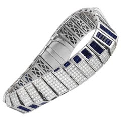 Blue Sapphire with Diamond Bracelet Set in 14 Karat White Gold Settings