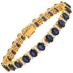 Blue Sapphire with Diamond Bracelet Set in 18 Karat Gold Settings