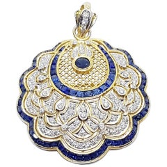 Blue Sapphire with Diamond Brooch/Pendant Set in 18 Karat Gold Settings
