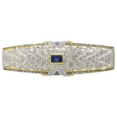 Blue Sapphire with Diamond Brooch Set in 18 Karat Gold Settings