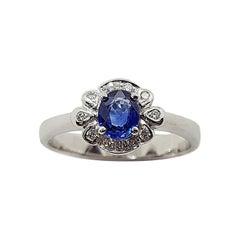 Blue Sapphire with Diamond Carat Ring Set in 18 Karat White Gold Settings