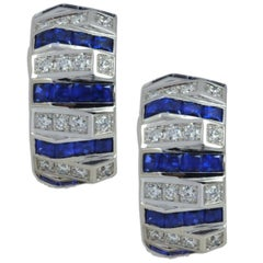Blue Sapphire with Diamond Earrings in 18 Karat White Gold Settings