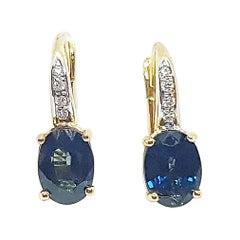Blue Sapphire with Diamond Earrings Set in 18 Karat Gold Settings