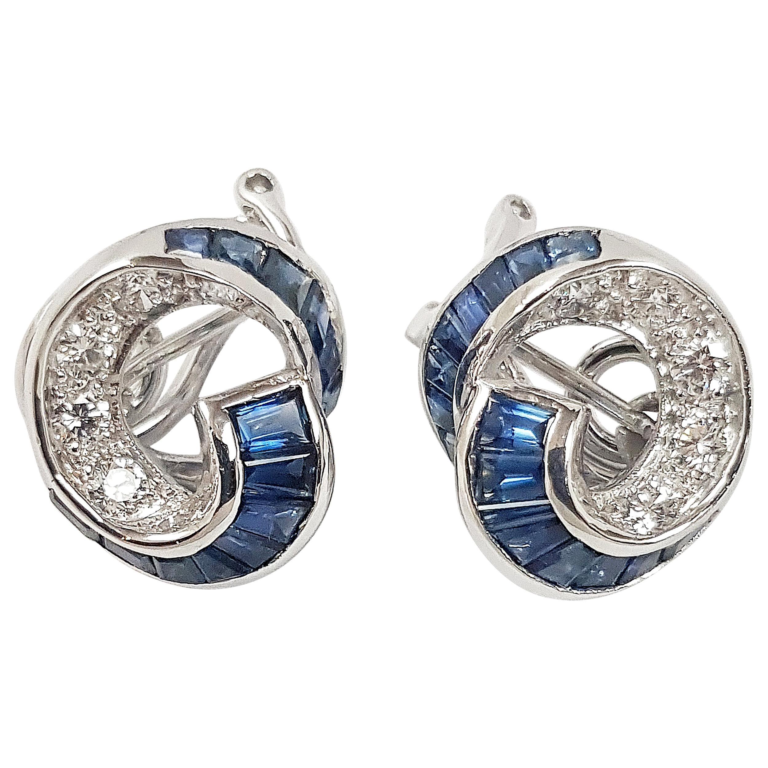 Blue Sapphire with Diamond Earrings Set in 18 Karat White Gold Setting