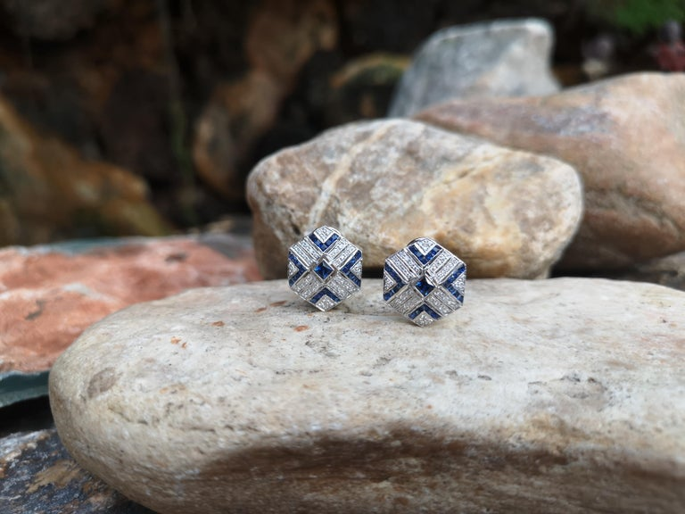 Art Deco Blue Sapphire with Diamond Earrings Set in 18 Karat White Gold Settings For Sale