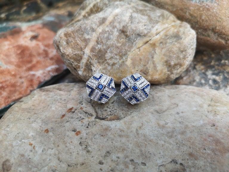 Women's Blue Sapphire with Diamond Earrings Set in 18 Karat White Gold Settings For Sale