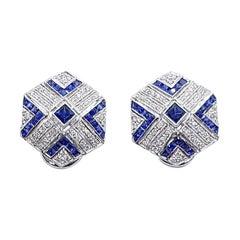 Blue Sapphire with Diamond Earrings Set in 18 Karat White Gold Settings