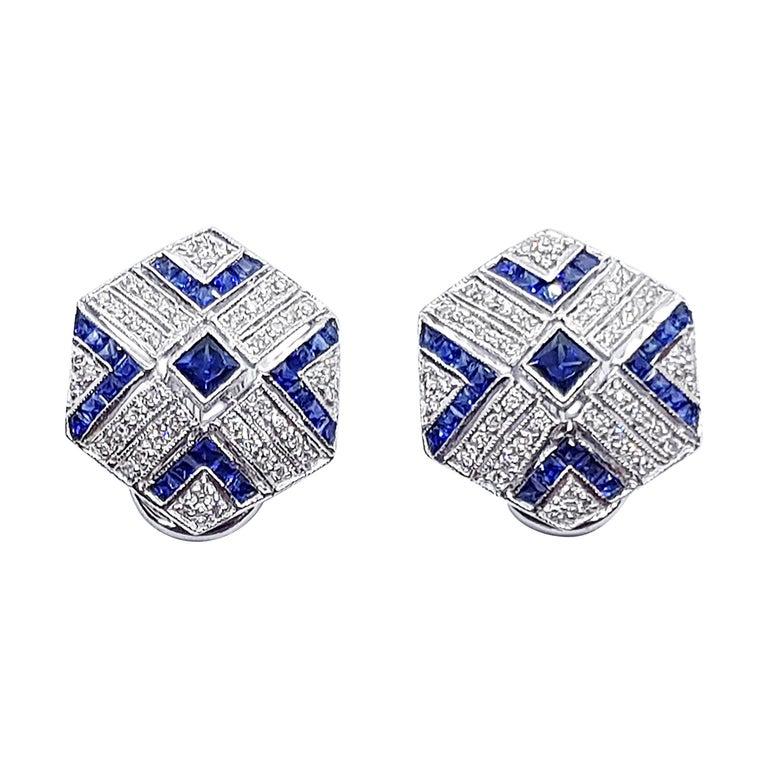 Blue Sapphire with Diamond Earrings Set in 18 Karat White Gold Settings For Sale