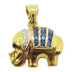 Blue Sapphire with Diamond Elephant Pendant Set in 18 Karat Gold Settings