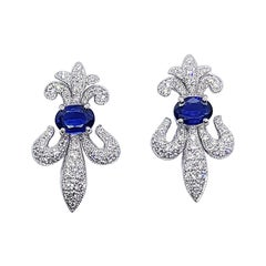 Blue Sapphire with Diamond Fleur-de-lis Earrings Set in 18 Karat White Gold