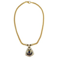 Blue Sapphire with Diamond Necklace Set in 18 Karat Gold Settings