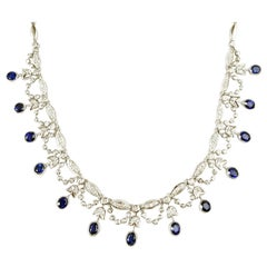 Blue Sapphire with Diamond Necklace Set in 18 Karat White Gold Settings