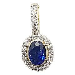 Blue Sapphire with Diamond Pendant Set in 18 Karat Gold Settings