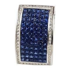 Blue Sapphire with Diamond Pendant Set in 18 Karat White Gold Settings