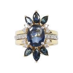 Blue Sapphire with Diamond Ring and Jacket Set in 18 Karat Gold Settings