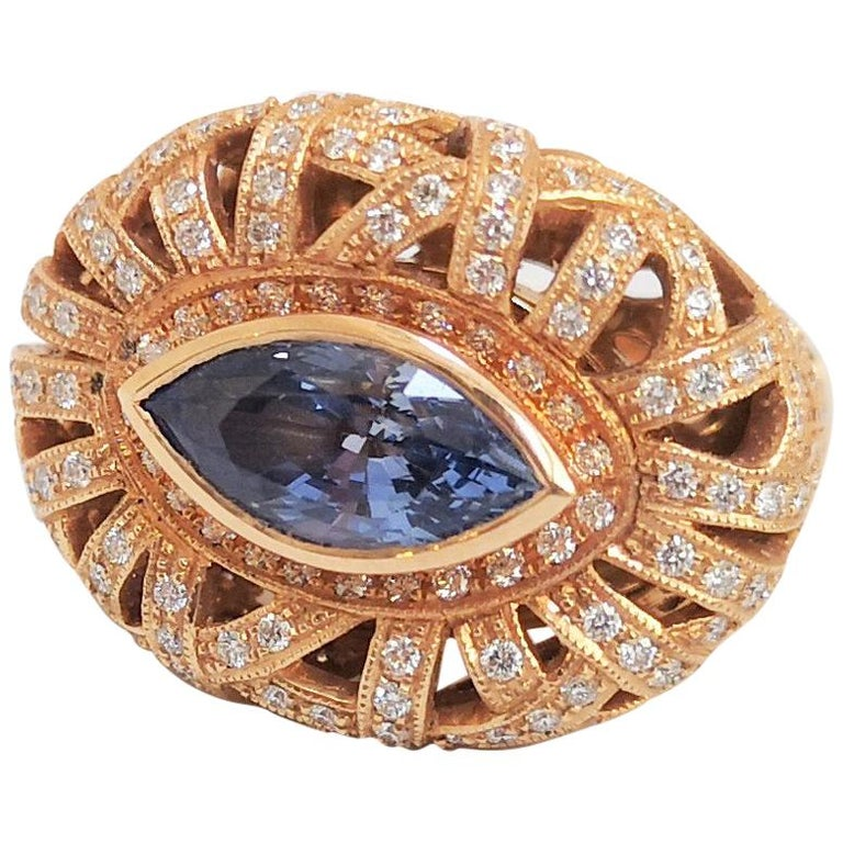Blue Sapphire with Diamond Ring Set in 18 Karat Rose Gold Settings For Sale
