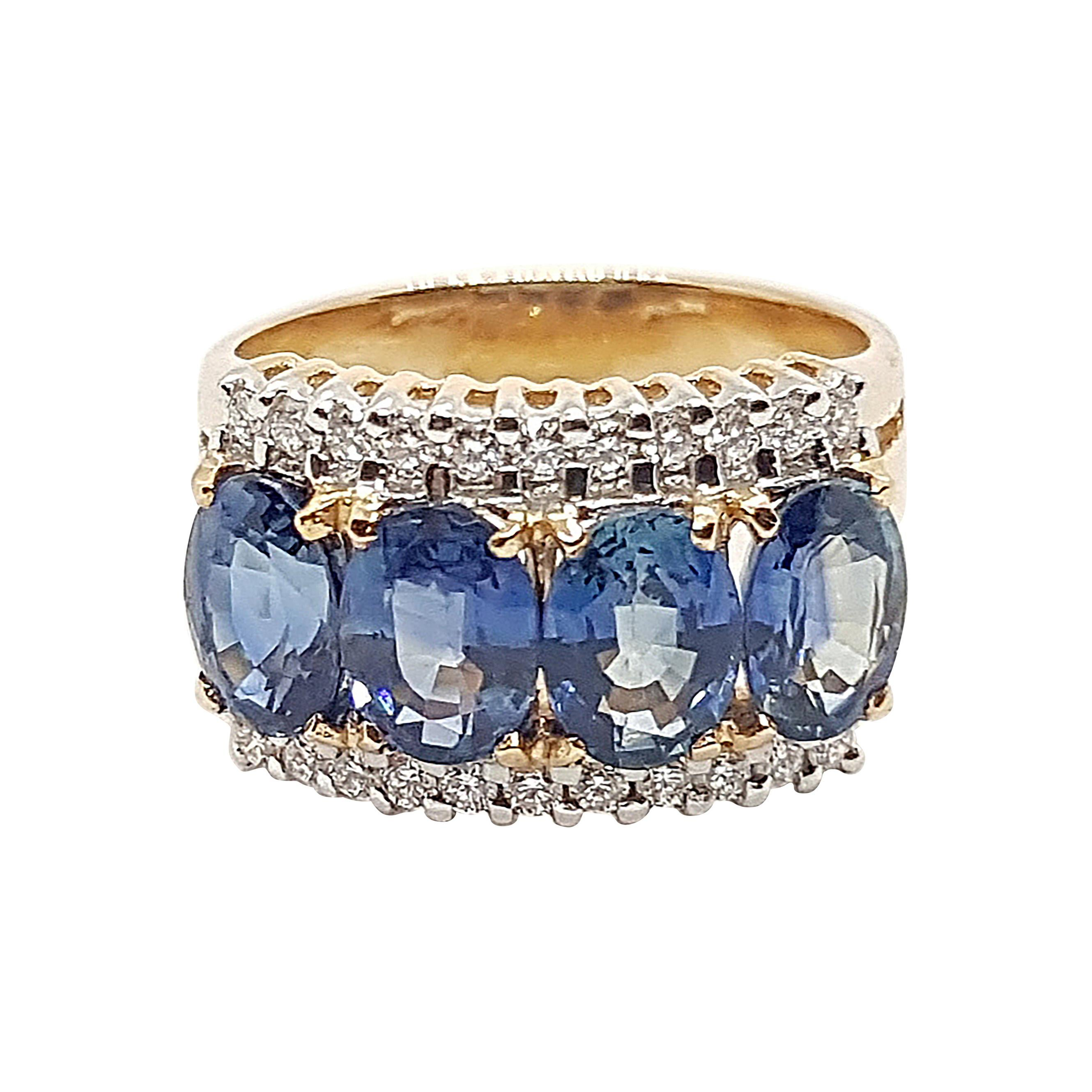 Blue Sapphire with Diamond Ring Set in 18 Karat Rose Gold Settings