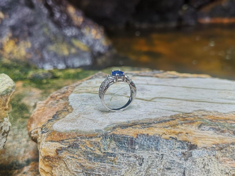 Blue Sapphire with Diamond Ring Set in 18 Karat White Gold Settings For Sale 5