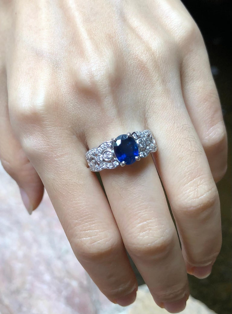 Art Deco Blue Sapphire with Diamond Ring Set in 18 Karat White Gold Settings For Sale