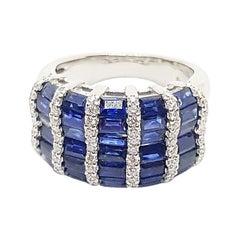 Blue Sapphire with Diamond Ring Set in 18 Karat White Gold Settings