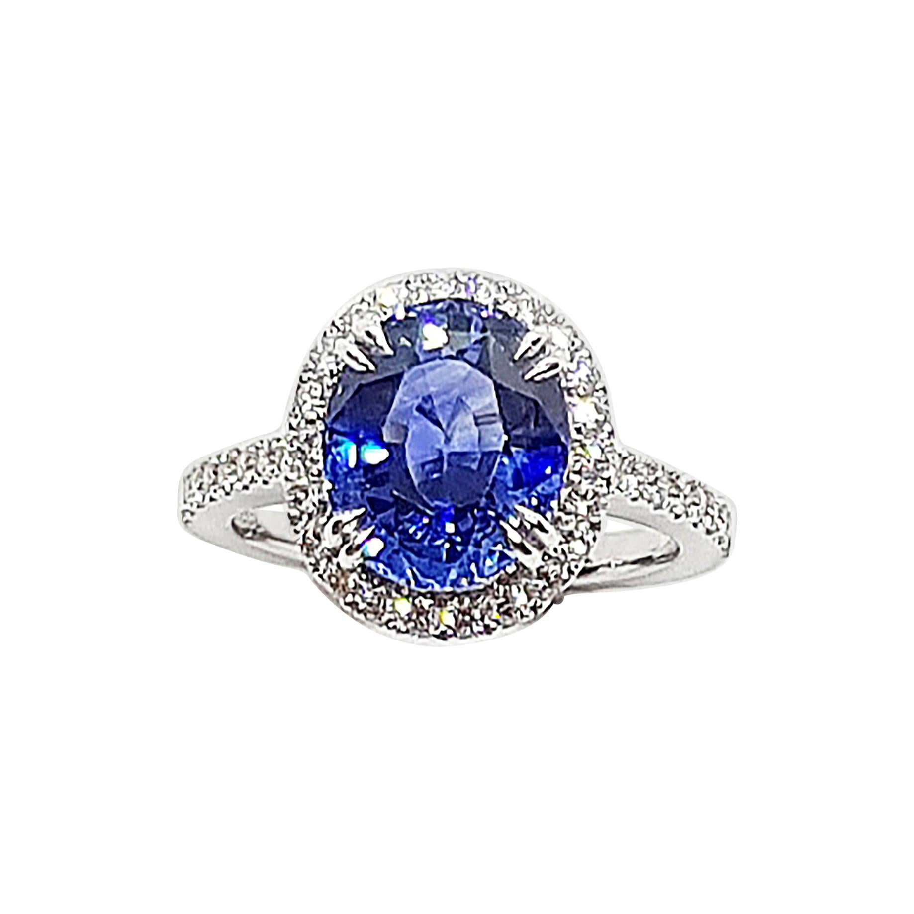 Blue Sapphire with Diamond Ring Set in Platinum 950 Settings