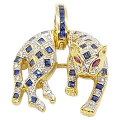 Blue Sapphire with Diamond with Ruby Panther Pendant/Brooch in 18 Karat Gold