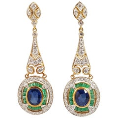 Blue Sapphire with Emerald and Diamond Earrings Set in 18 Karat Gold Settings