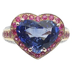 Heart Shape Blue Sapphire with Pink Sapphire and Diamond Ring in 18K Rose Gold