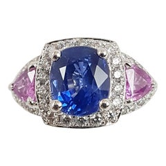 Blue Sapphire with Pink Sapphire and Diamond Ring Set in 18 Karat White Gold