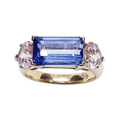 Blue Sapphire with Pink Sapphire Ring Set in 18 Karat Rose Gold Settings