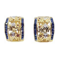 Blue Sapphire with Ruby and Diamond Elephant Earrings Set in 18k Gold Settings