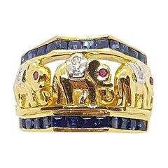 Blue Sapphire with Ruby and Diamond Elephant Ring Set in 18 Karat Gold Settings