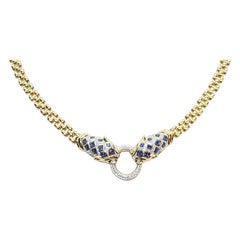 Blue Sapphire with Ruby and Diamond Panther Necklace Set in 18 Karat Gold