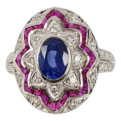 Blue Sapphire with Ruby and Diamond Ring Set in 18 Karat White Gold Settings