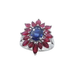 Blue Sapphire with Ruby Ring Set in 18 Karat White Gold Settings