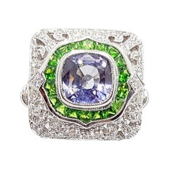 Blue Sapphire with Tsavorite and Diamond Ring Set in 18 Karat White Gold Setting