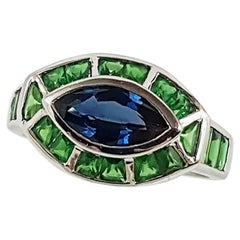 Blue Sapphire with Tsavorite Ring Set in 18 Karat White Settings