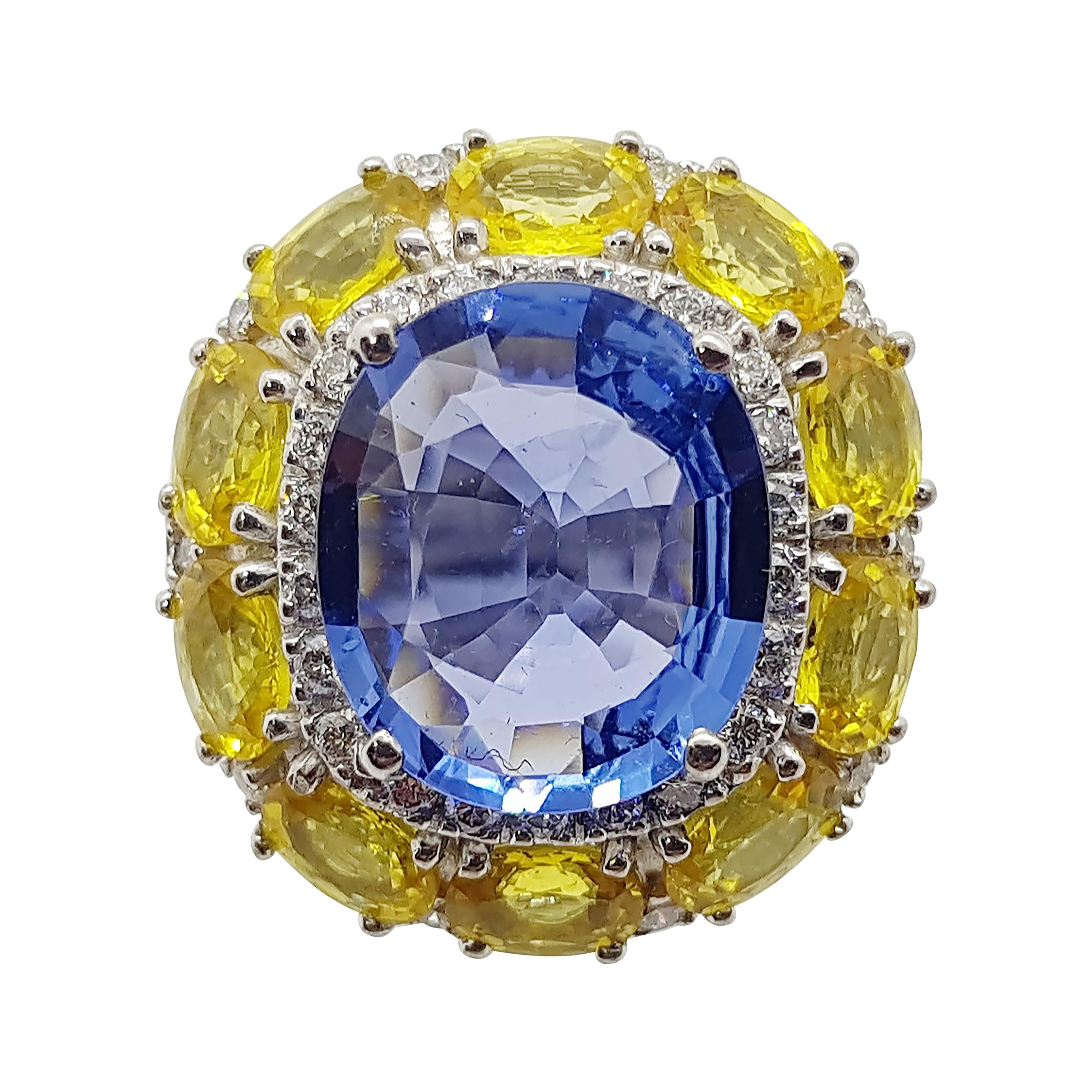 Blue Sapphire with Yellow Sapphire and Diamond Ring Set in 18 Karat White Gold