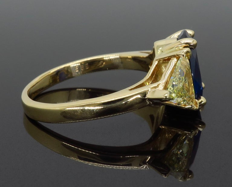 Blue Sapphire and Yellow Diamond Three-Stone Ring For Sale 2