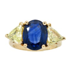 Blue Sapphire and Yellow Diamond Three-Stone Ring