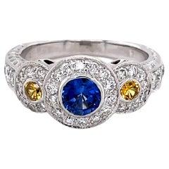 Blue Sapphire Yellow Sapphire Diamond Triple Halo 18K White Gold Engagement Ring