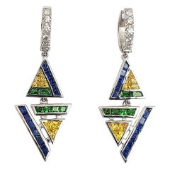 Blue and Yellow Sapphire with Diamond Kavant&Sharart Earrings in 18K White Gold