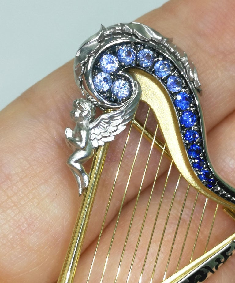 Women's or Men's Blue Sapphires 18 Karat White Gold Harp Brooch For Sale