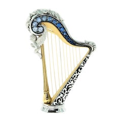 Blue Sapphires 18 Karat White Gold Harp Brooch
