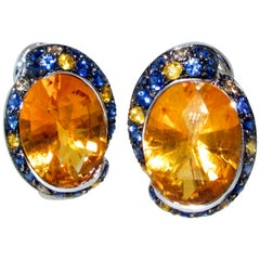 Blue Sapphires Accenting Fine Bright Citrines Earrings