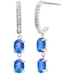 Blue Sapphires and Diamonds Double Tier Drop Hoop Earrings