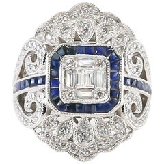Blue Sapphires and Diamonds Ring 18 Karat Gold
