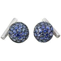 Blue Sapphires Carat 6.39 Diamond Carat 0.18 18 Karat Gold Boule Cufflinks