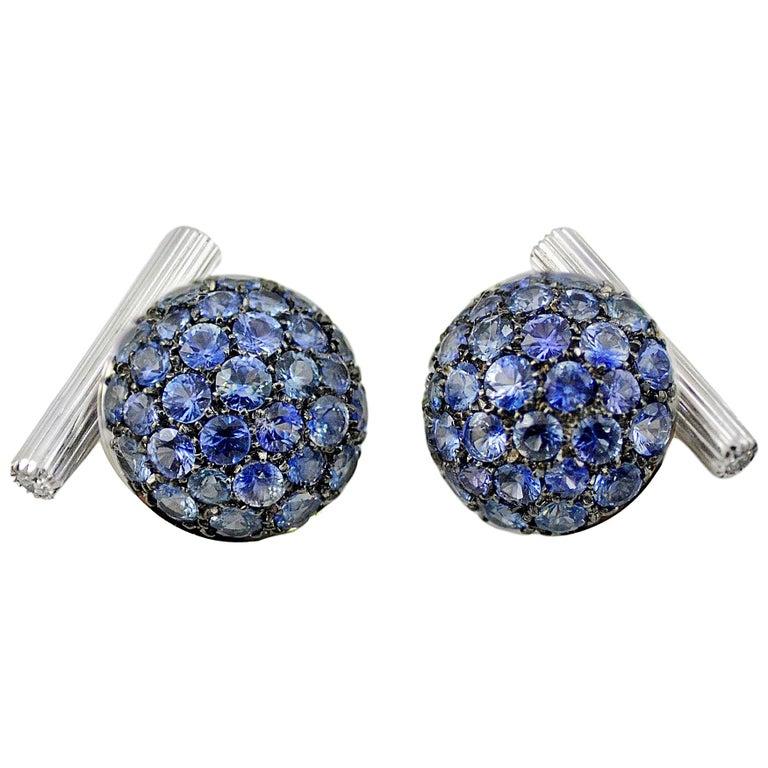 Blue Sapphires Carat 6.39 Diamond Carat 0.18 18 Karat Gold Boule Cufflinks For Sale