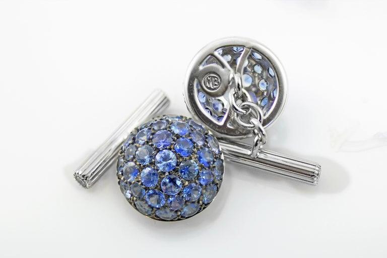 Round Cut Blue Sapphires Carat 6.39 Diamond Carat 0.18 18 Karat Gold Boule Cufflinks For Sale